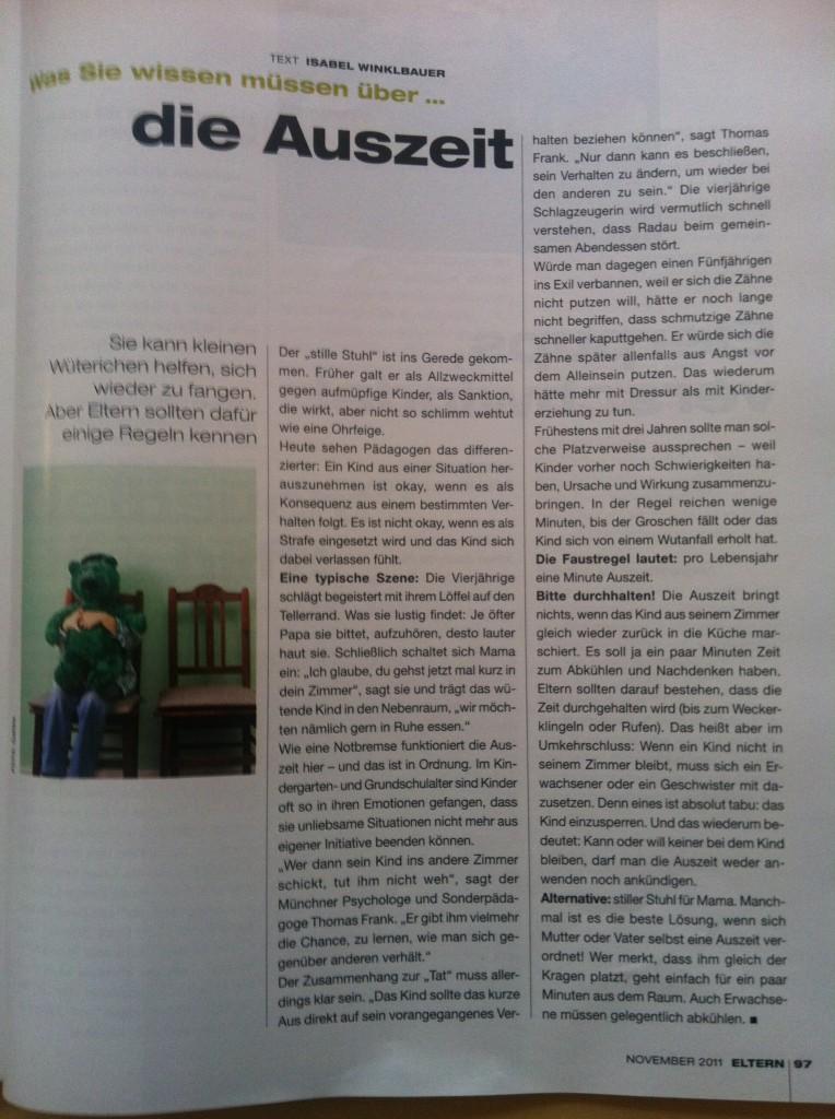 """Was eine """"Auszeit"""" bei Kindern bewirken kann, Artikel in Eltern Zeitschrift , 2011, Winkelbauer , Frank"""